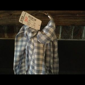 Blue and white checkered scarf